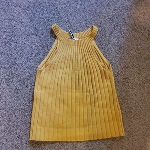 Yellow knitted halter top